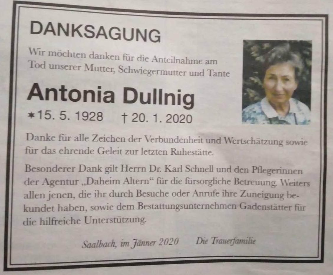 Danksagung Frau Dullnig